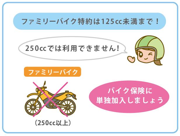 250ccバイクはファミリーバイク特約に加入出来ません